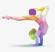 female gymnast multicolor abstract