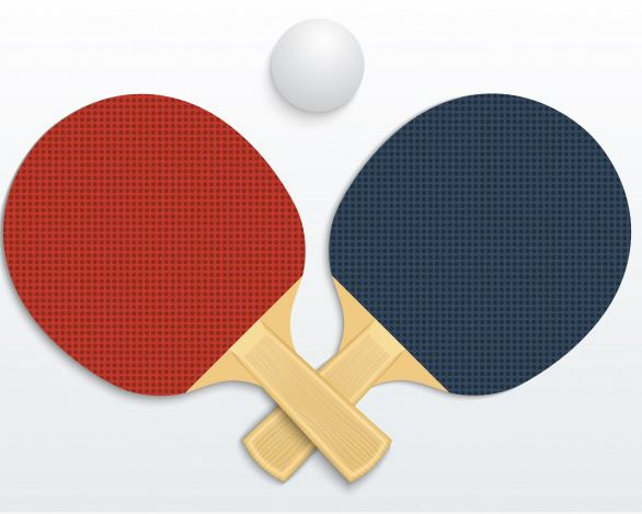 table tennis red paddle blue paddle