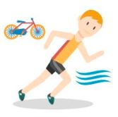 character running with icons of cycling and swimming for triathlon